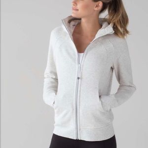 Lululemon Sparkle Off White Scuba Hoodie Zip Up
